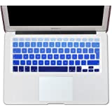"""EU/UK Macbook keyboard covers-- English Letter Silicone Gradient Blue Keyboard Cover Skin Shield for MacBook Pro 13"""" 15"""" 17"""" (with or without Retina Display) and MacBook Air 13"""" European/ISO Keyboard Layout"""