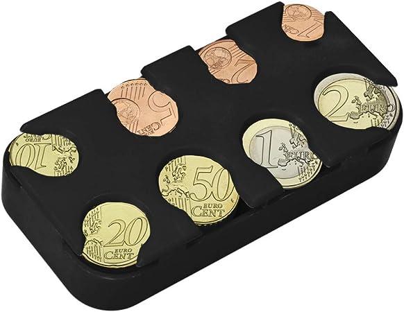 kwmobile Porta Monedas Euro - 8 Dispensadores de 1 céntimo a 2 Euros - Clasificador de monedas de la Unión Europea - negro: Amazon.es: Oficina y papelería