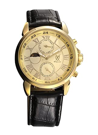 Konigswerk Mens Gold Tone Watch Black Leather Strap Roman Numerals Reloj de Oro Hombre AQ202468G