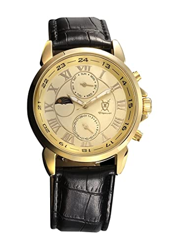 Reloj Dorado de Hombre, con Números Romanos, Display Día-Fecha y Día-Noche y Correa Negra de Piel de Konigswerk AQ202468G: Amazon.es: Relojes