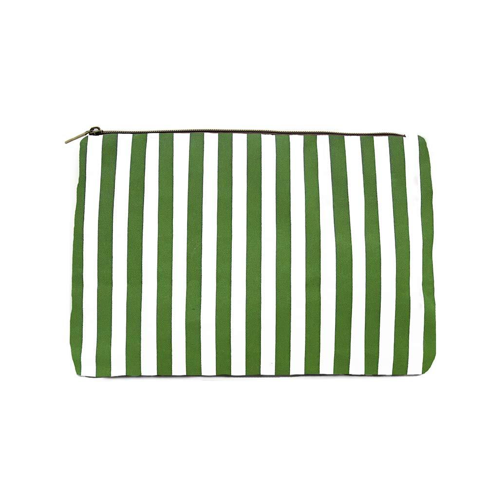 Womens Green Striped Cosmetic Bag, Makeup Bag, Toiletry Bag, Organizer Bag
