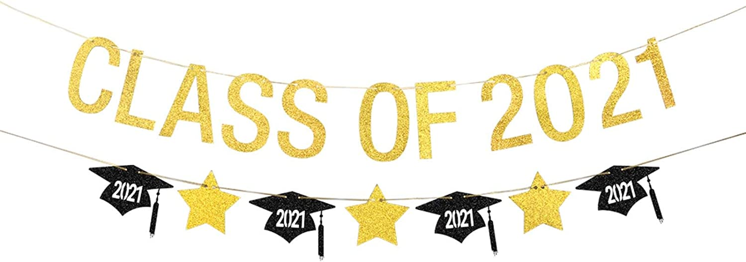 Belrew Class of 2021 Banner for Happy Senior Party, Cheers to 2021, Congratulations High School Graduate decor. 2020 Congrats Grad College Bunting-(Gold Glitter 5 ft)