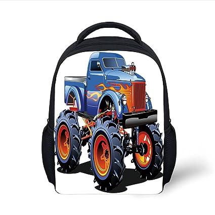 iPrint Kids School Backpack Man Cave Decor,Cartoon Monster Truck Huge Tyres Off road Heavy