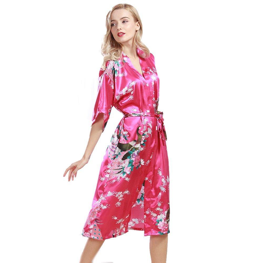 SamWell SLEEPWEAR レディース B06WP7DSMG Rich Pink Bathrobe Rich Pink Bathrobe