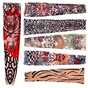 6 x rock fake tattoo arms legs stockings sleeves stretch for Tattoo sleeves amazon
