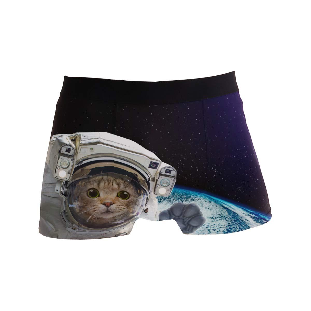ZZKKO Astronaut Cat Mens Boxer Briefs Underwear Breathable Stretch Boxer Trunk with Pouch S-XL