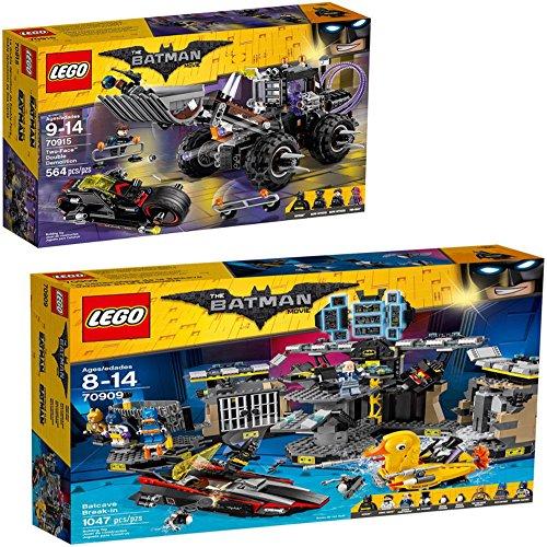 Lego's Batman Movie Bundle. Two-Face Double Demolition 70915 and Batcave Break-in 70909 Toy Bundle.