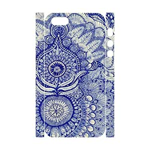 YananC(TM) YnaC413541 DIY Custom 3D Case for Iphone 5,5S w/ Blue Art Flower