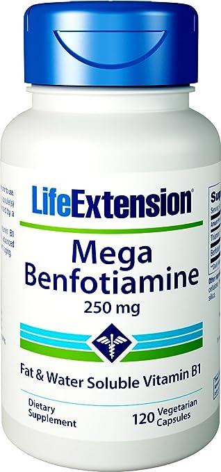 Life Extension Mega Benfotiamine 250mg (120 Vegetarian Capsules): Amazon.es: Salud y cuidado personal