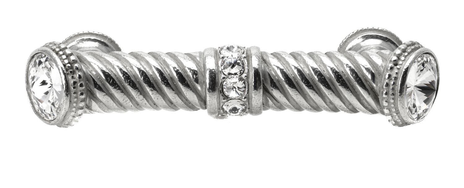 Carpe Diem Hardware 878-24C Cache 3-Innch O.C Platinum Large Pull Made with Swarovski Crystals