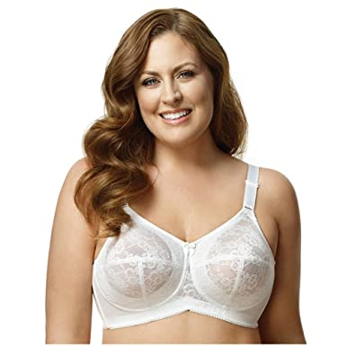 7abcf4a2026 Image Unavailable. Image not available for. Color  Elila Plus Size Wirefree Full  Coverage Embroidered Bra ...