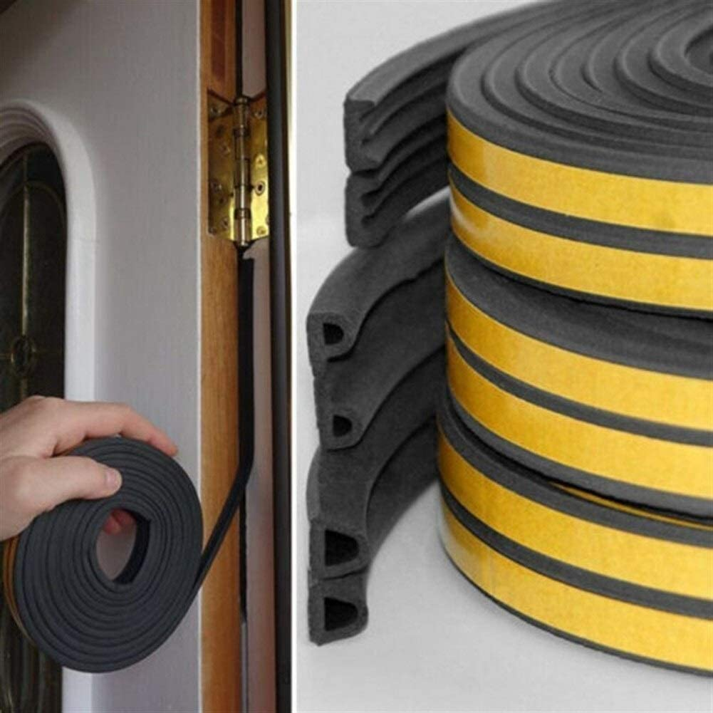 Door Draft Stopper Color : A 5M Draught Draft Excluder Self Adhesive Rubber Door Window Seal Strip Roll Tape