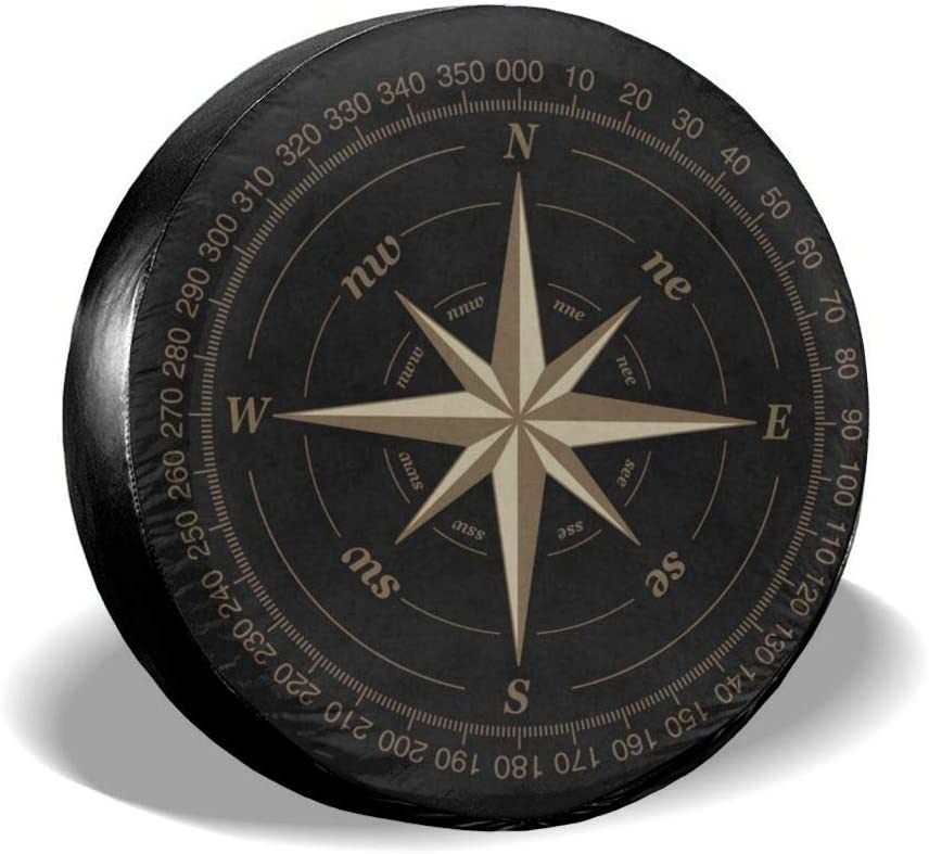 SUV and Many Vehicle 14 Inch Compass Rose Black Spare Tire Cover UV Sun Wheel Covers Fit for Jeep,Trailer RV