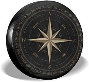 Compass Rose Black Spare Tire Cover UV Sun Wheel Covers Fit for Trailer, RV, SUV and Many Vehicle 15 Inch