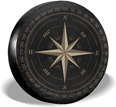 556 Gear Compass Geometric Mountain Scene Night Sky Travel Spare Tire Cover fits SUV Camper RV Accessories Black 30 in