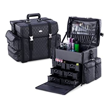 MUA LIMITED Pro Makeup Artist Storage Bag Case, Soft Sided Carry On Cosmetic Case with