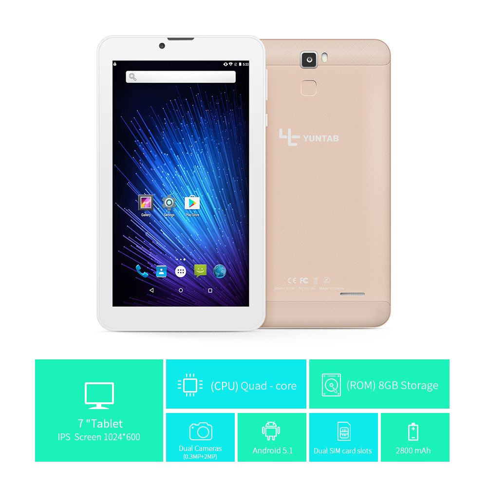 YUNTAB Tableta Android de 7 pulgadas E706,1GB+8GB,Quad Core, Resolución 1024x600,con 2 ranuras para tarjetas SIM, teléfono desbloqueado 3G, Bluetooth ...