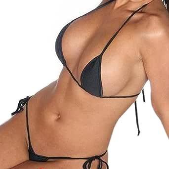 Wild Life Women's Cotton Lace-Up Bikini Low-Waisted Thong Panty Sexy Bra