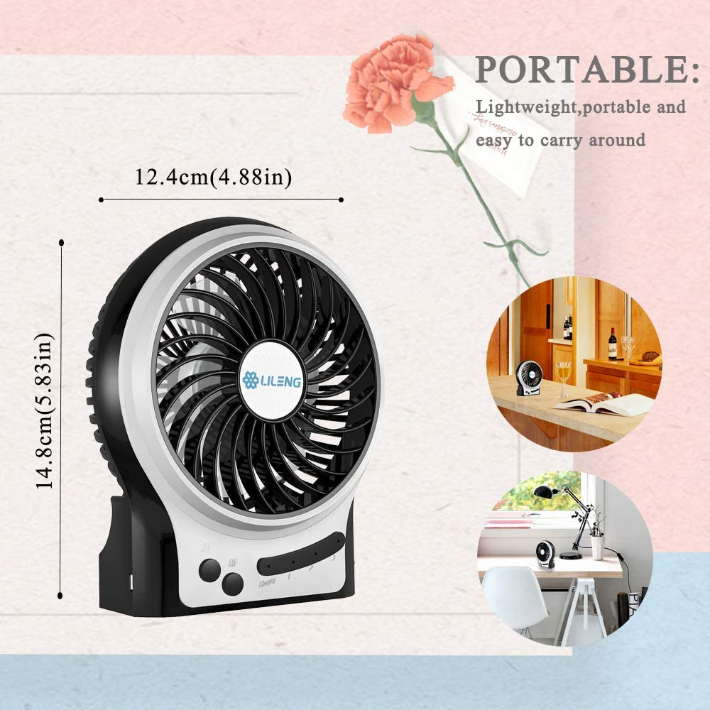 YANGYA Mini USB Desk Fan Handheld Table Desktop Portable Personal Rechargeable Dual Motor Fan for Home Office Camping Outdoor and Travel-Pink