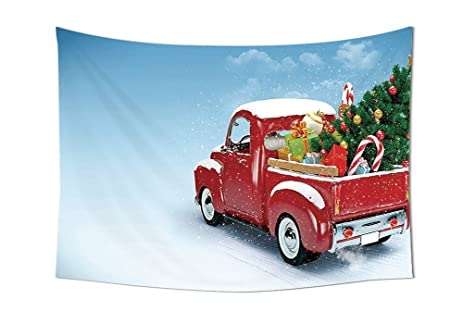 red truck christmas decorations bright red classic pickup truck with xmas tree gifts and ornaments snow