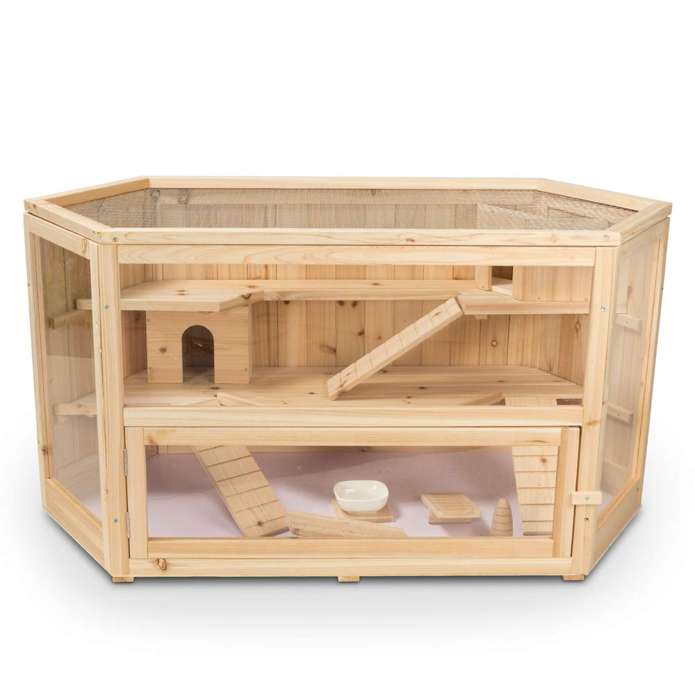 ALEKO WHC001 Deluxe Fir Wood 3-Tier Hamster Cage 44 x 24 x 23 Inches by ALEKO