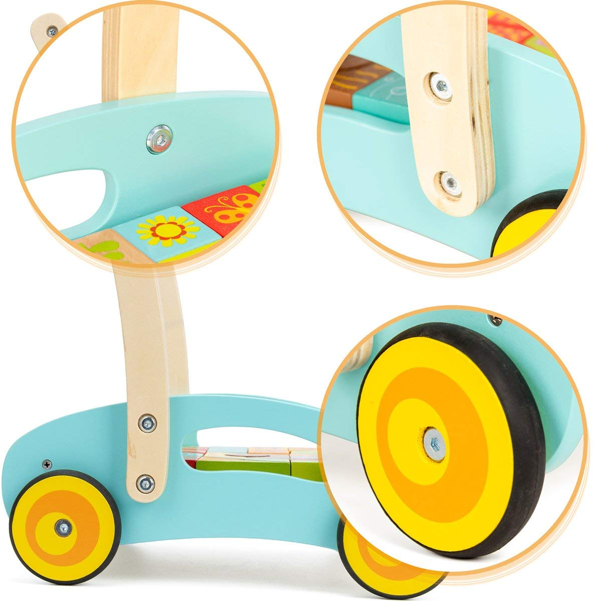 cossy Wooden Baby Learning Walker Toddler Toys for 1 Year Old Forest Theme Blocks /& Roll Cart Push Toy Updated Version 37 Pcs