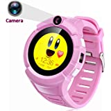 "1.22"" Touch Kids GPS Tracker Smart Watch With Camera SOS Call Anti-lost Alarm Pedometer Sport Fitness Activity Round Wristwatch Bracelet Smartwatch for Children Boys Girls (Cute Pink)"