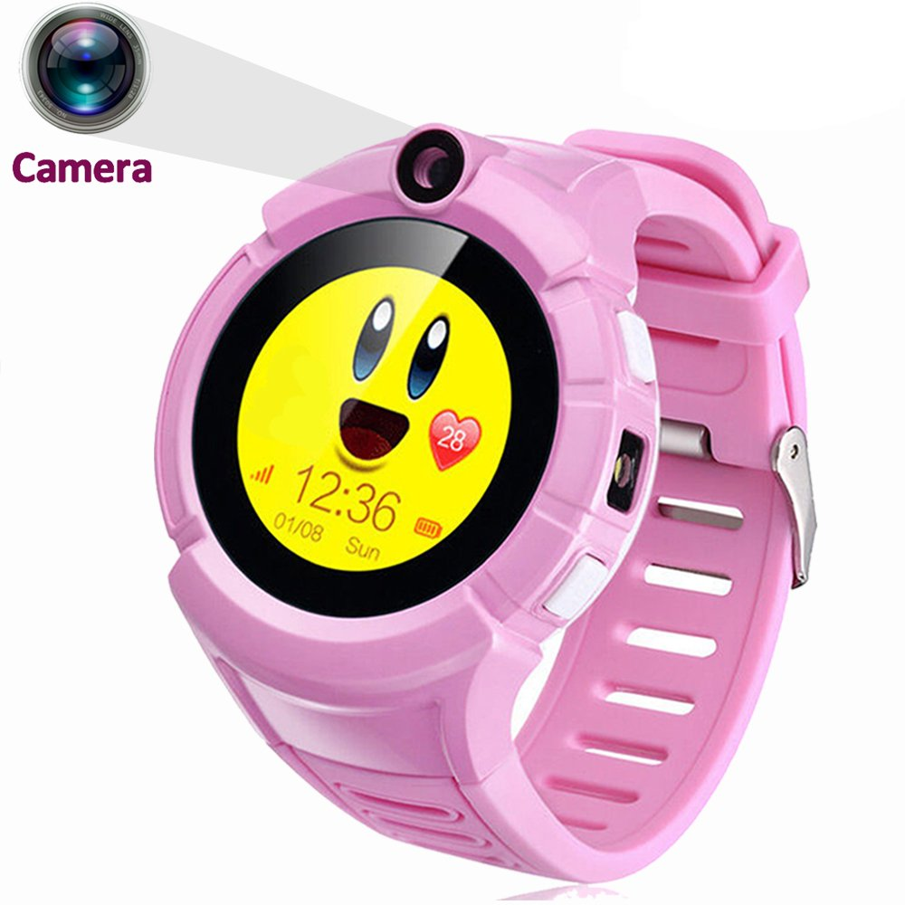 "GBD 1.22"" Touch Kids GPS Tracker Smart Watch With Camera SOS Call Anti-lost Alarm Pedometer Sport Fitness Activity Round Wristwatch Bracelet Smartwatch for Children Boys Girls (Cute Pink)"