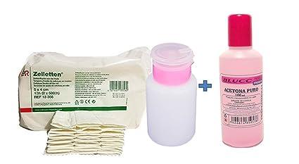 Pack Eliminar esmaltes permanentes - Acetona 100ml + Toallitas 100unidades Zelletten de celulosa + Dispensador para