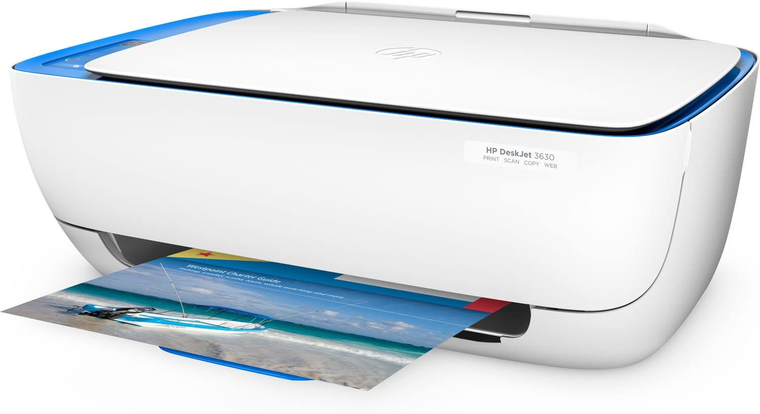 HP DeskJet 3630 Series All in One Wireless Printer (Renewed) (Blue)