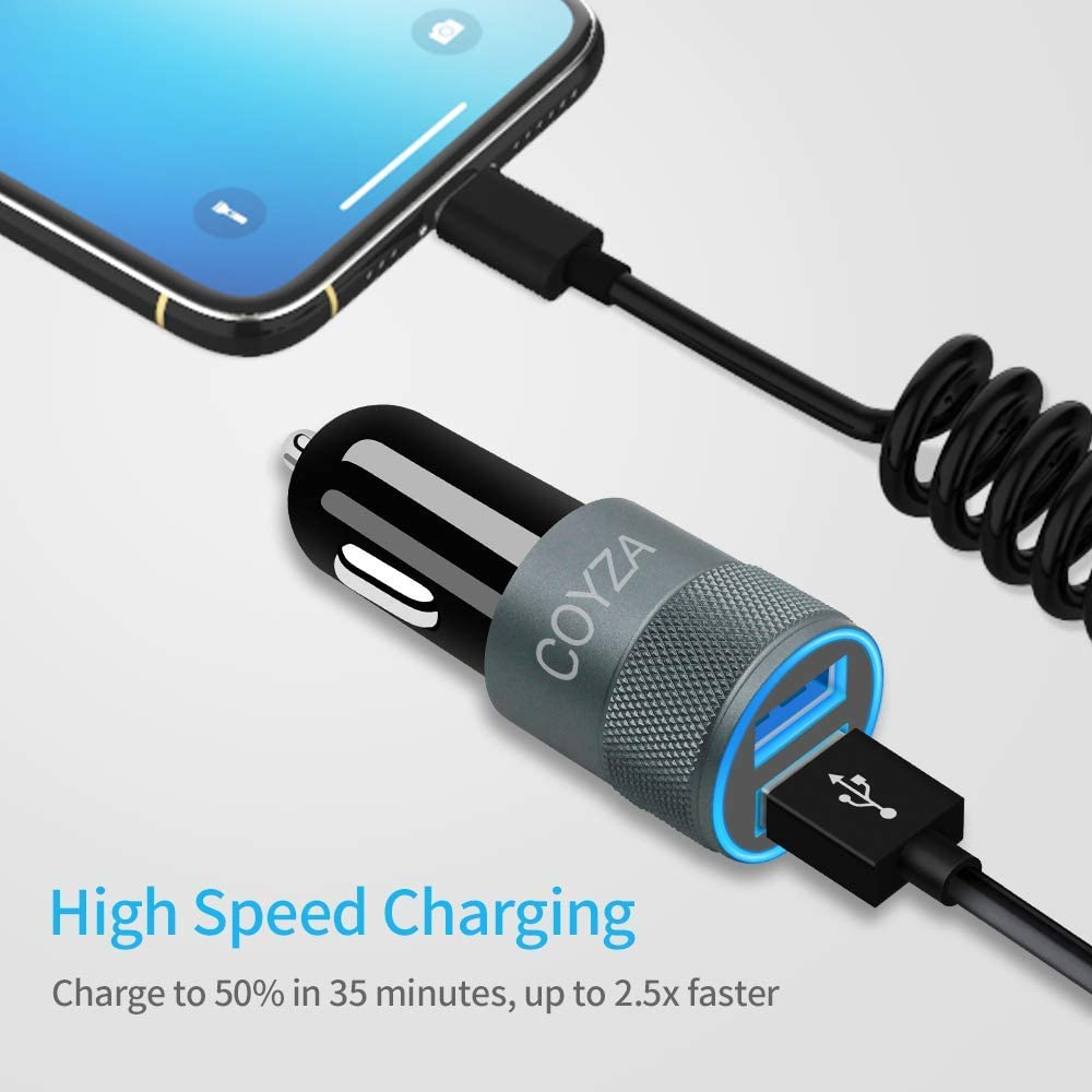 24W 4.8A Dual USB Fast Charging Adapter Flexible Coiled Charging Cable Cord Included COYZA Car Charger Compatible with Apple iPhone 11 Pro Max XS XR X SE 2020 8 Plus 8s 8 7s 7 6s 6 5 iPad Air Mini