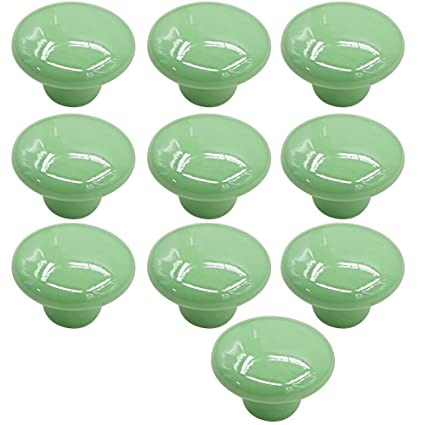 10 Pcs 33mm Small Ceramic Round Solid Color Pull Handles Kitchen Cabinet  Cupboard Drawer Door Knobs