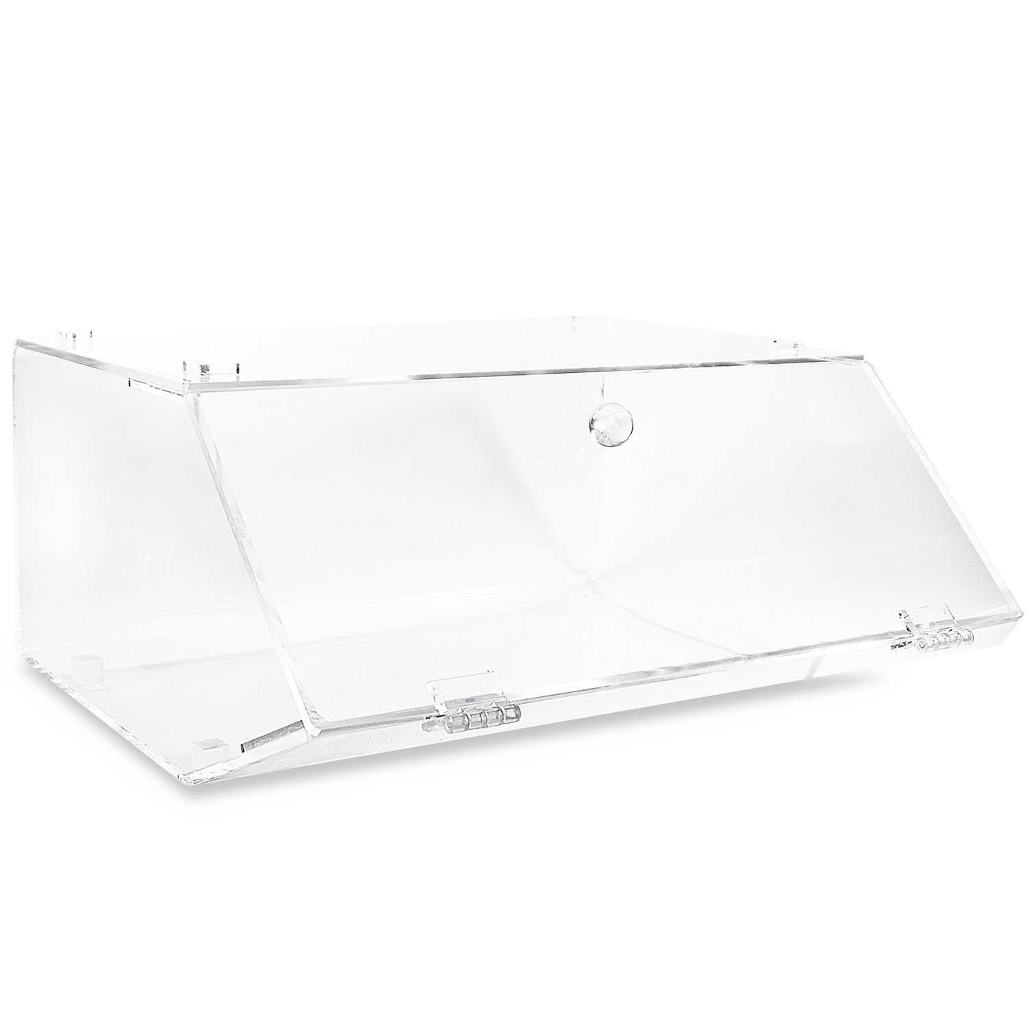 """Ikee Design Acrylic Stackable Bakery Display Case Home Organizer Acrylic Storage Holder Stand for Bagels with A Hinged, Slanted Door 11 7/8"""" W x 11"""" D x 6"""" H"""