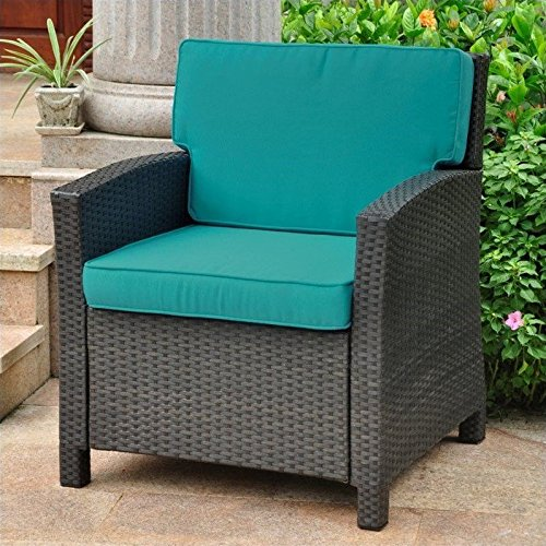 International Caravan Valencia Outdoor Patio Chair in Antique Black and Aqua Blue
