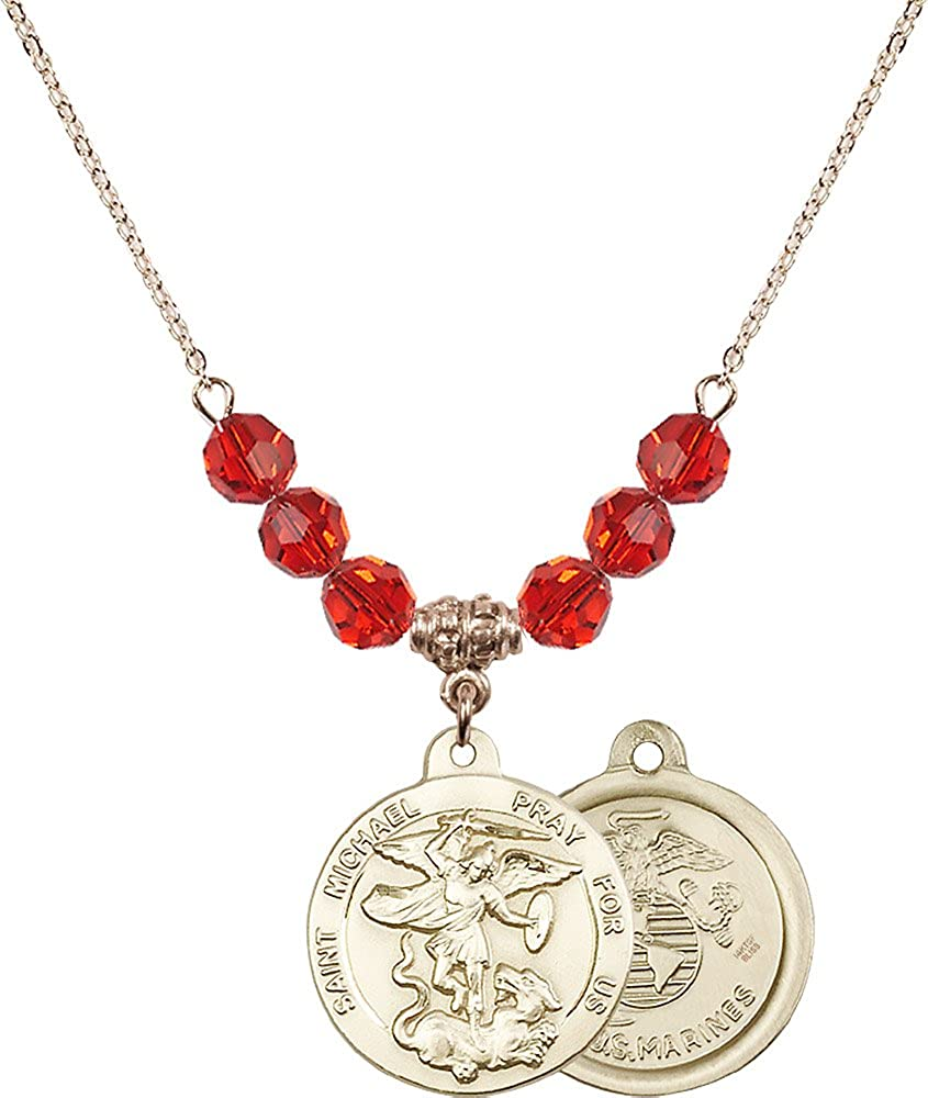 Marines Charm. 18-Inch Hamilton Gold Plated Necklace with 6mm Ruby Birthstone Beads and Gold Filled Saint Michael