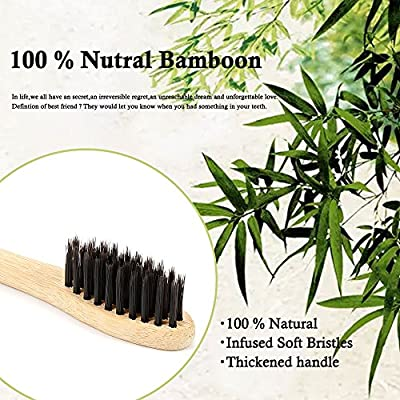 Bamboo Toothbrush Natural Wooden ECO Friendly Toothbrush Made with Bamboo Charcoal Infused Soft Bristles 4 Pcs