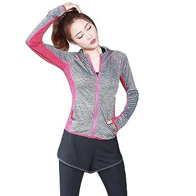 Wenyujh Femme Veste de Sport à Capuche Slim Yoga Gym Jogging Fitness  Respirant Séchage Rapide Survêtement a3e178e3c93