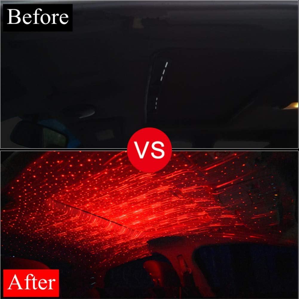 Autoinnenbeleuchtung Auto Usb Led Auto Dach Stern Lichter Romantische Rot Sternenhimmel Lichter Musik Sound Remote Fit Alle Autos Decke Dach Dekoration Lichtfarbe Rot Auto