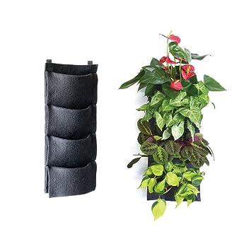 Florafelt - Maceta vertical de jardín de 4 bolsillos