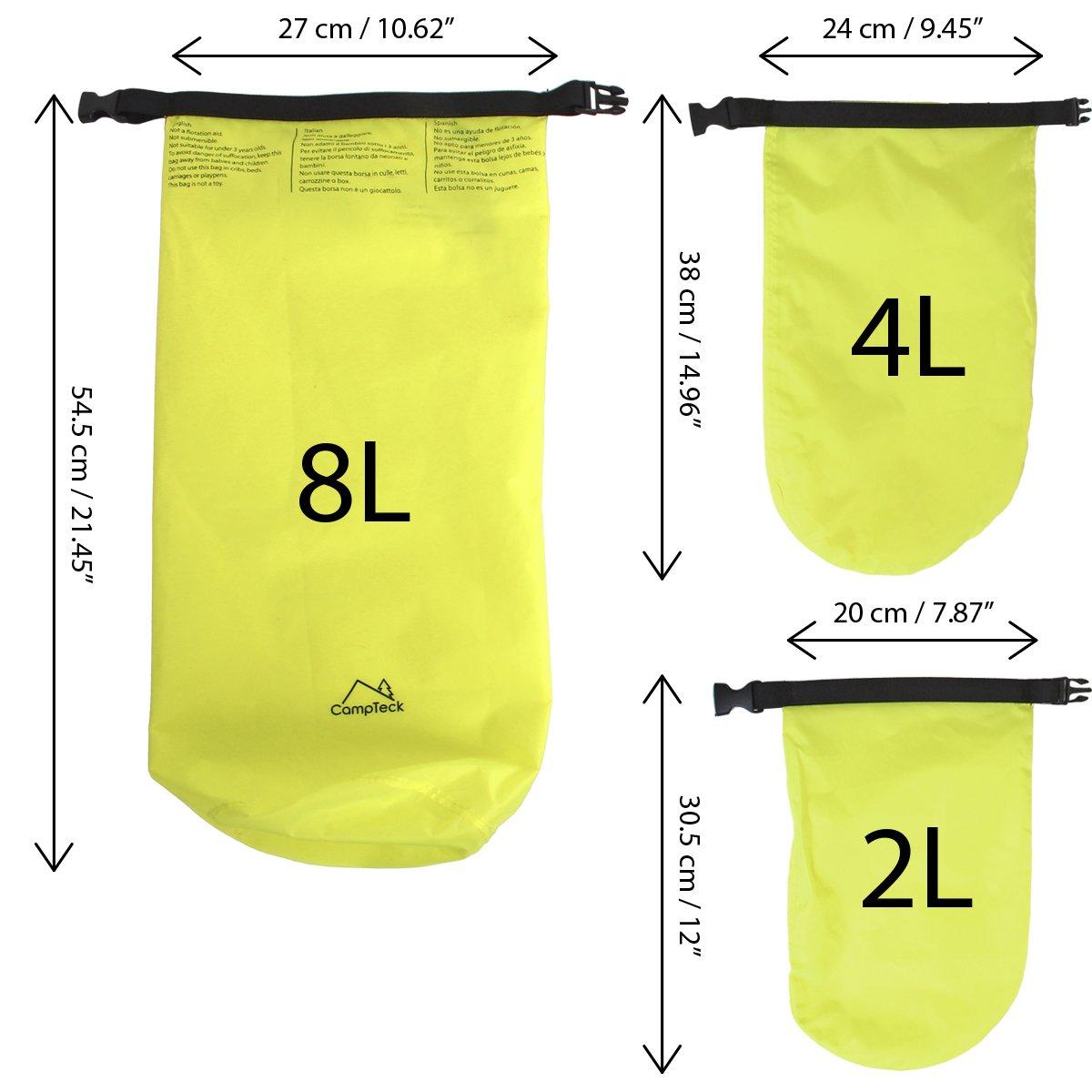 Canoa Snowboard Pesca CampTeck Dry Bag Bolsa Seca Resistente al Agua para Camping Verde Neon Kayak etc Rafting