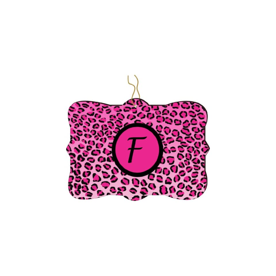 Rikki Knight RKWS SQORN 2504 Christmas Tree Ornament / Car Rear View Mirror Hanger Letter F Hot Pink Leopard Print Monogrammed Design