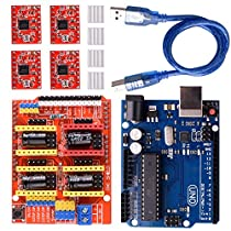 Longruner GRBL CNC Shield Expansion Board V3.0 +UNO R3 Board + A4988 Stepper Motor Driver with Heatsink for Arduino Kits