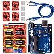 Longruner GRBL CNC Shield Expansion Board V3.0 +UNO R3 Board + A4988 Stepper Motor Driver With Heatsink for Arduino Kits (Arduino Kits)