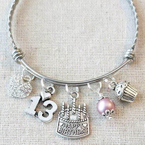 Happy 13th Birthday Heart Charm Bracelet, 13th BIRTHDAY GIRL Bracelet, Teenage Daughter Gift Ideas, Birthday Gifts for Girls, 13 Year Old Teen Girl Birthday