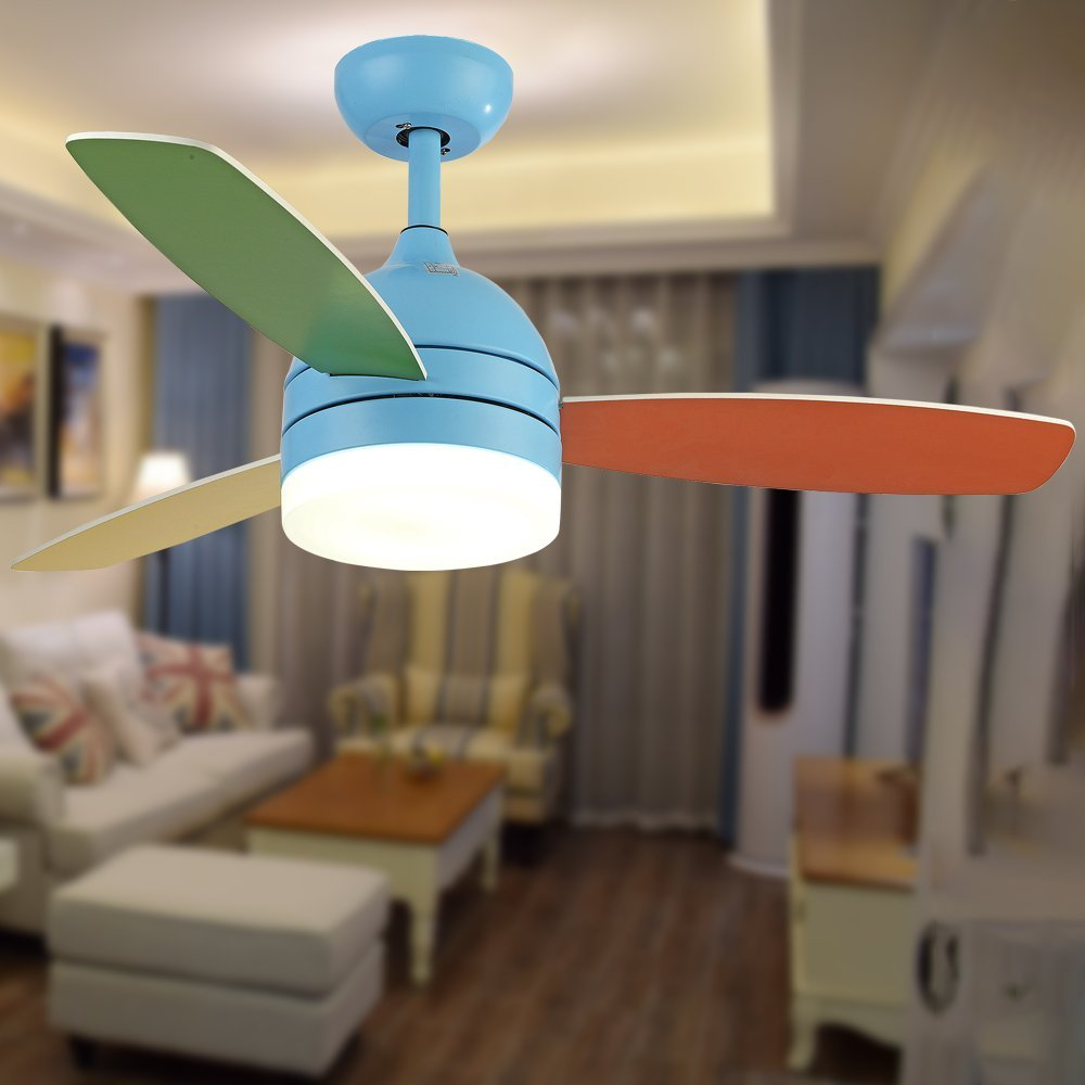 Andersonlight Children Ceiling Fan LED Light Kit 3 Acrylic Blades Remote Control Variable Speed Copper Mute Motor Metal Spray paint Finish Pink 42 inch (blue) by Andersonlight (Image #2)