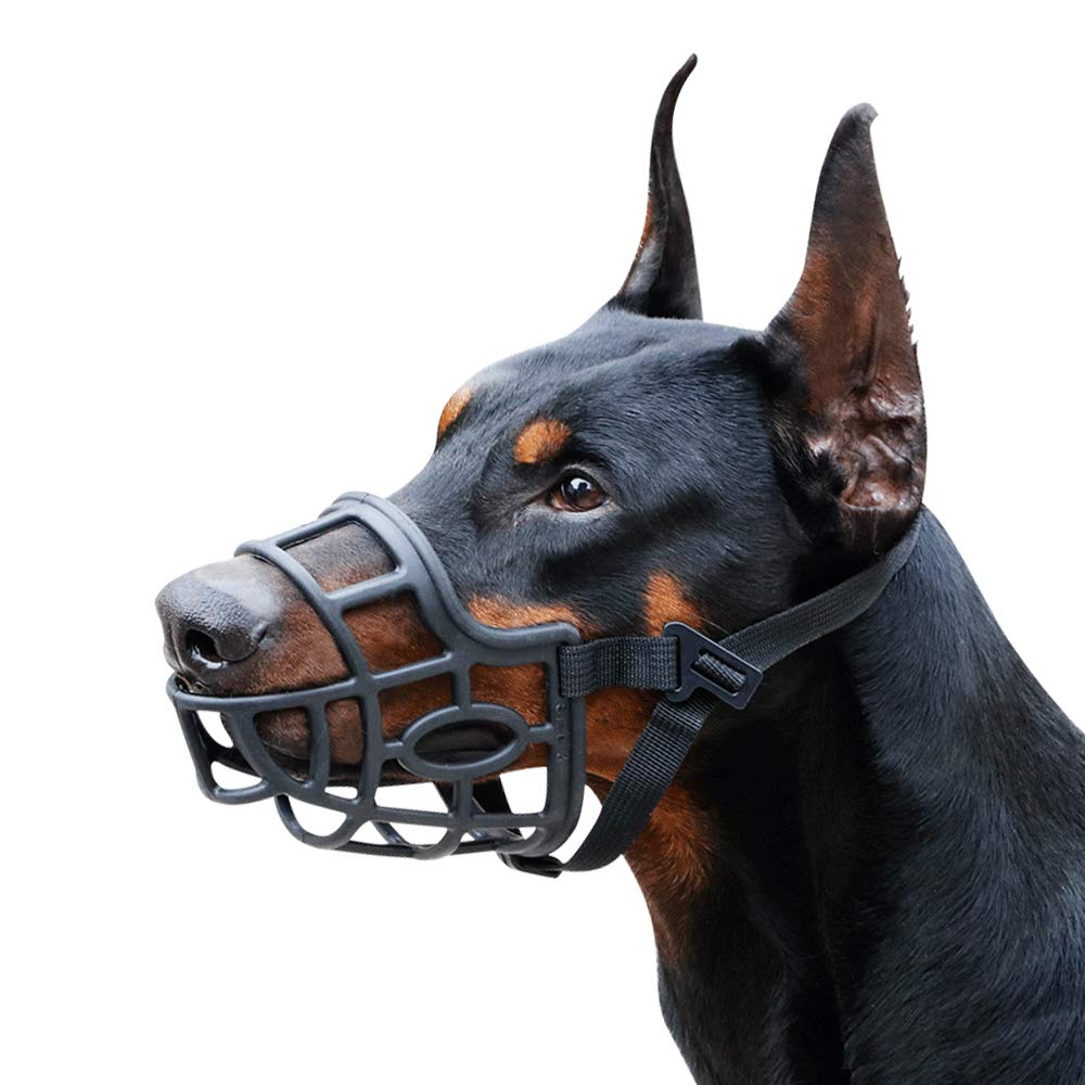 Dog Muzzle, Breathable Basket Muzzles for Small, Medium, Large and X-Large Dogs, Stop Biting, Barking and Chewing (XXL - Dane, Black) by Mayerzon