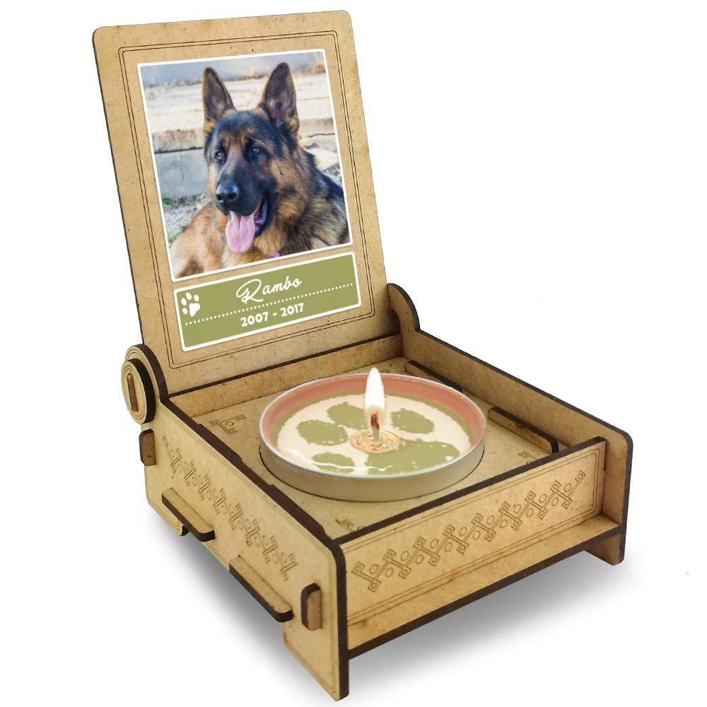 FANS & Friends TROSTLICHT | Trauerkerze Hund | personalisiert mit Foto & mit Namen | Holz-Box mit Spruch & Pfote | Abschied Hund | Hund Erinnerung | Verlust Hund FANS & Friends AG