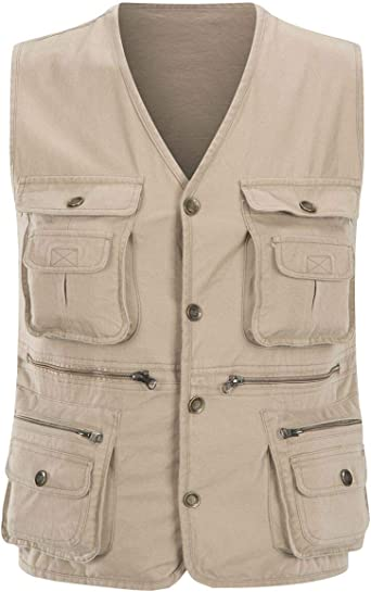 Mens Travel Pockets Photography Reporter Carry Fishing Outwear Vest UK STOCK