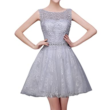 Sue&Joe Womens Bridesmaid Dresses Sleeveless Lace Top Homecoming Short Prom Dress, Grey, Tag size