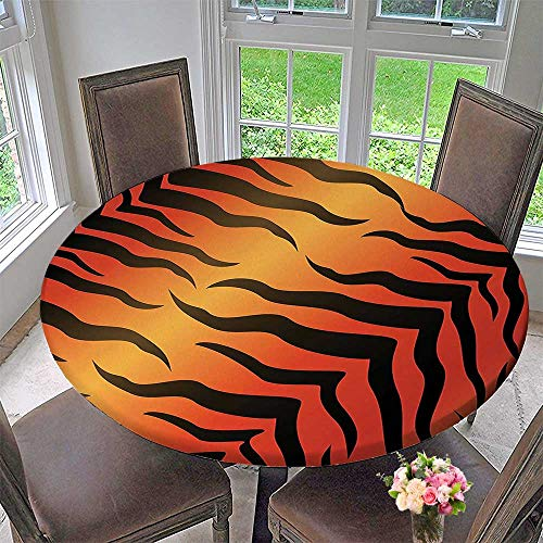 Mikihome The Round Table Cloth Abstract Tiger Skin Pattern Wildlife Nature Themed Fashionable Illustration Red Yellow for Birthday Party, Graduation Party 31.5